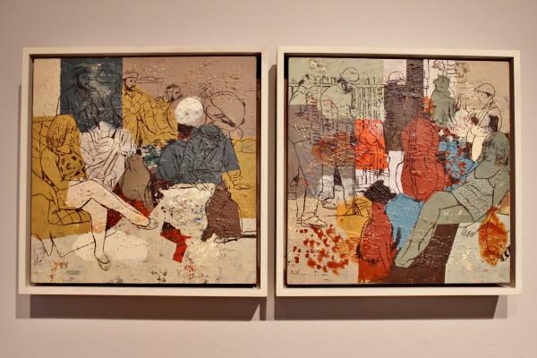 Dos cuadros de la exposición hilos de luz de Hanoos en Casa Arabe de Madrid