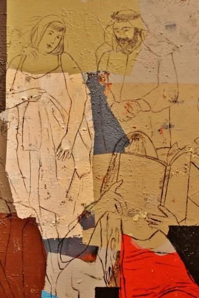 Detalle de un cuadro de Hanoos en la exposición Hilos de Liz en la Casa Arabe de Madrid